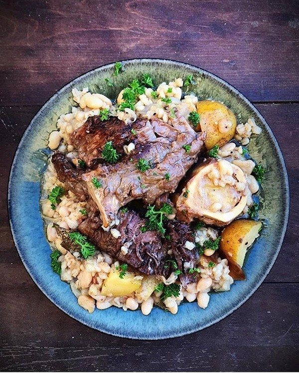 Cholent, a slow-simmered stew of brisket with pearl barley and potatoes from Eve Studnicka