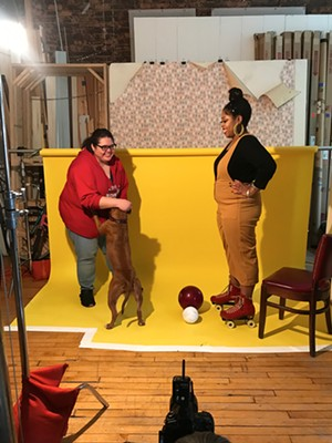 Reader listings coordinator Salem Collo-Julin preps Patti the dog for her Sports & Rec photo shoot with Janaya. - JAMIE RAMSAY FOR CHICAGO READER