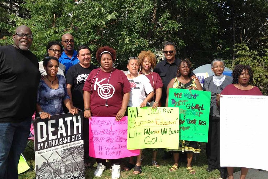 The Dyett High School activists and their allies, including Rev. Jesse Jackson (fourth from right) - MAUDLYNE IHEJIRIKA/SUN-TIMES