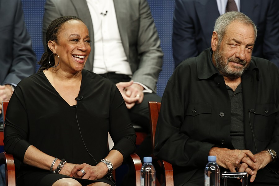 At the Television Critics Association summer press tour event for Chicago Med, actress S. Epatha Merkerson sits next to the show's producer, Dick Wolf. - COURTESY NBC