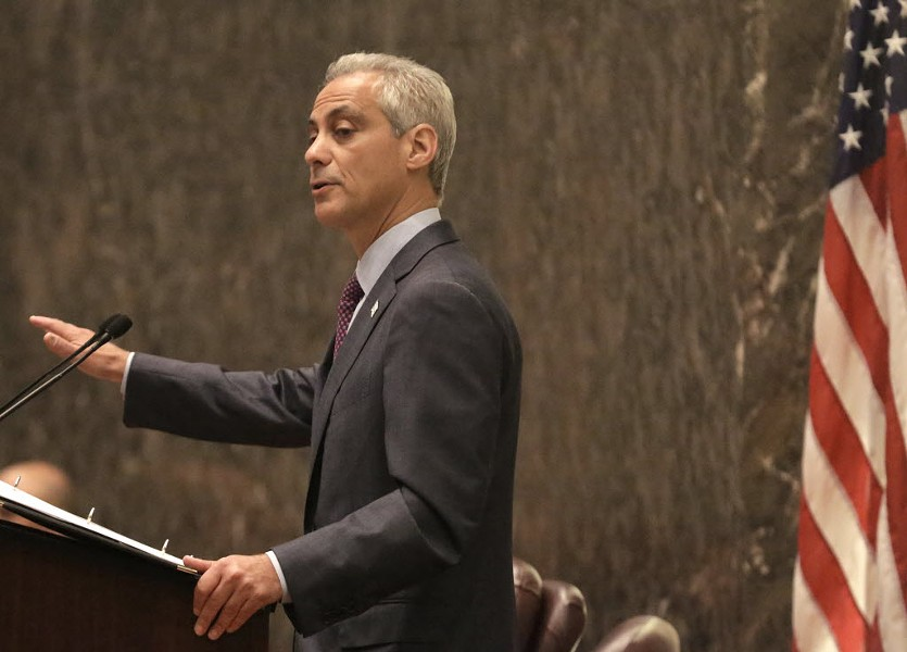 Mayor Rahm at the pulpit - M. SPENCER GREEN/AP PHOTOS