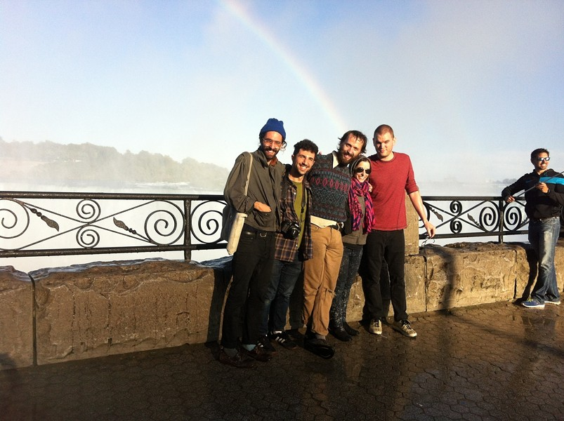 Derek Baron, Adam Gundersheimer, James Krivchenia, Sandy Gordon, and John Welsh of Causings on the Canadian side of Niagara Falls earlier this week, near a guy with a selfie stick. - COURTESY THE ARTIST