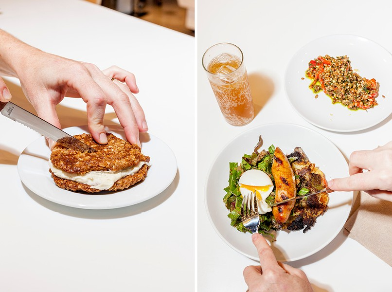 House-made oatmeal cream pie; potato hash with soft-boiled egg and sausage - NICK MURWAY