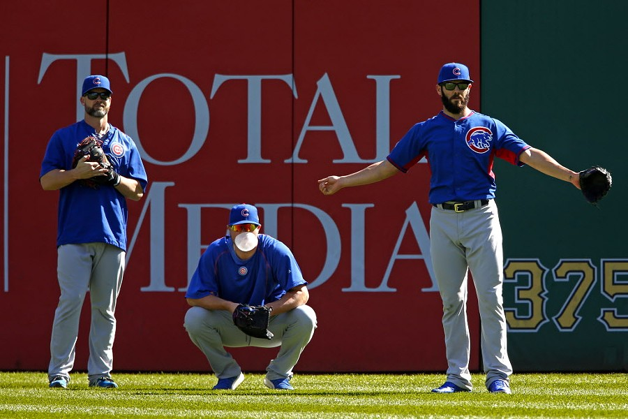 Jon Lester, center, will start against the Mets in game one on Saturday. Jake Arrieta, right, will start on Sunday. - AP PHOTO/GENE J. PUSKAR