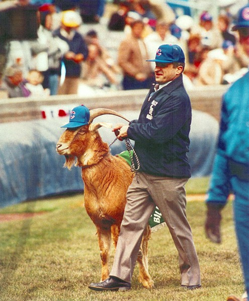 Sam Sianis and goat at Wrigley Field in 1989, lifting the curse yet again - COURTESY BILLY GOAT TAVERN