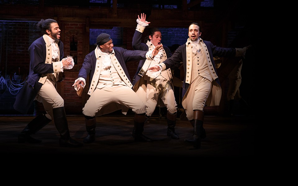 Rapping forefathers, coming at ya in Hamilton. - PUBLIC THEATER