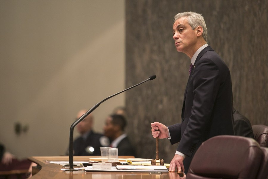 Emanuel addressed the City Council Wednesday as protesters outside called for his resignation. - ASHLEE REZIN/SUN-TIMES