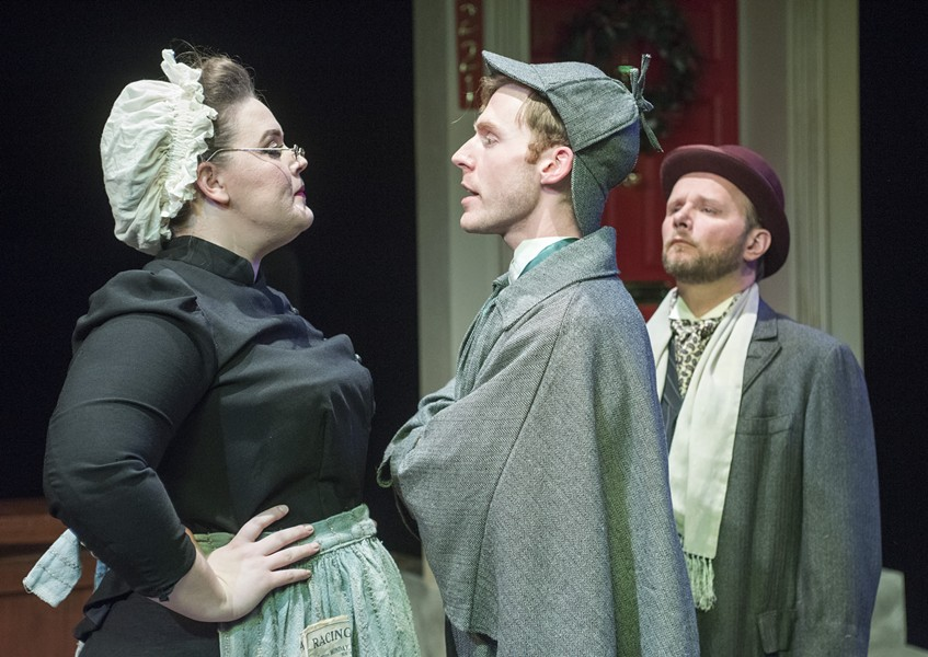 Neela Barron, Jeff Myer, and Darren Hill in Raven Theatre's Sherlock Holmes and the Case of the Christmas Goose - DEAN LA PRAIRIE