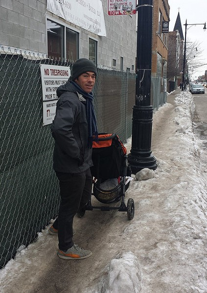 A frozen sidewalk on North Avenue in Wicker Park makes it hard to push a stroller. - LINDSAY BAYLEY
