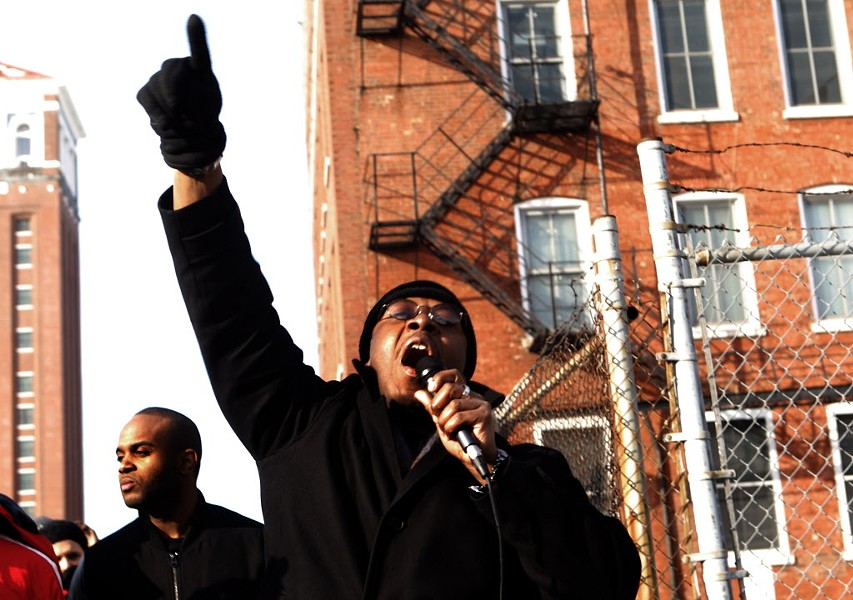 Protesters rally at Homan Square in February 2015. - KEVIN TANAKA/SUN-TIMES