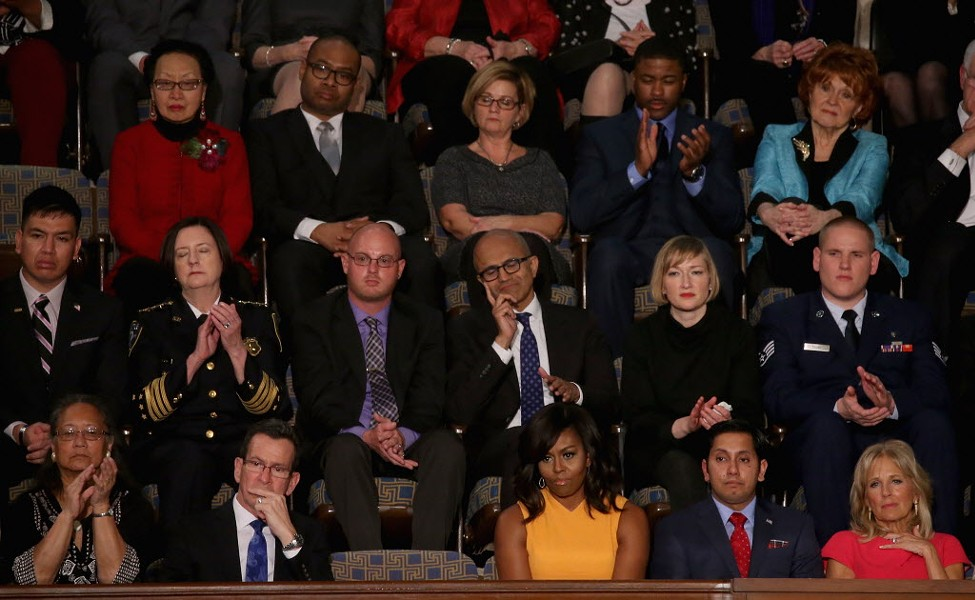 The empty seat next to the first lady was a symbolic seat for victims of gun violence. So why did the president all but ignore that issue in his speech? - MARK WILSON/GETTY IMAGES