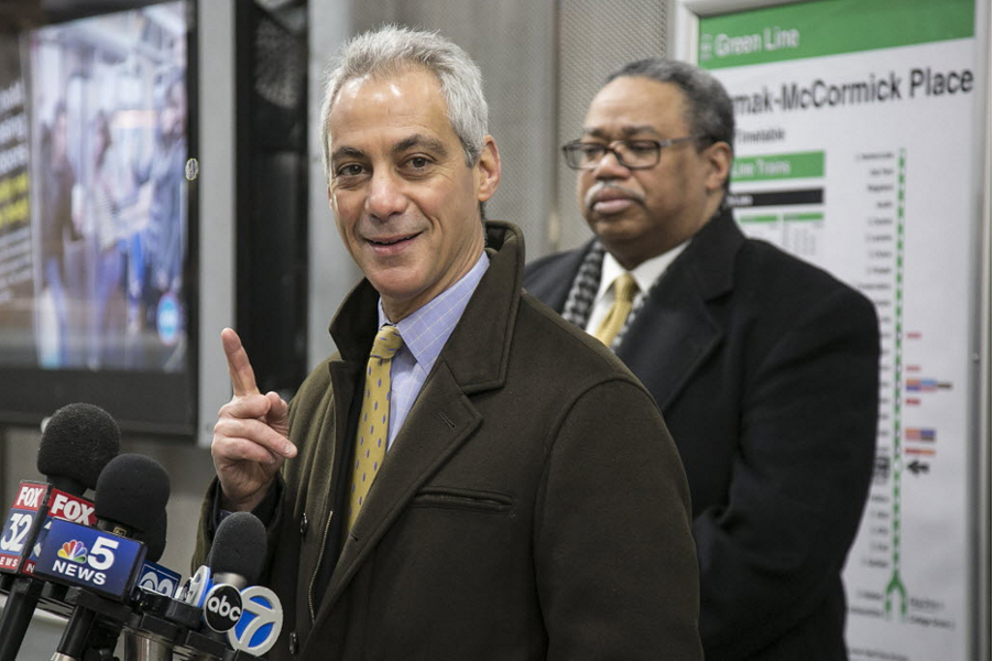 Mayor Rahm Emanuel discusses CTA crime statistics at the Cermak-McCormick Place Green Line Station Wednesday morning. - ASHLEE REZIN/SUN-TIMES