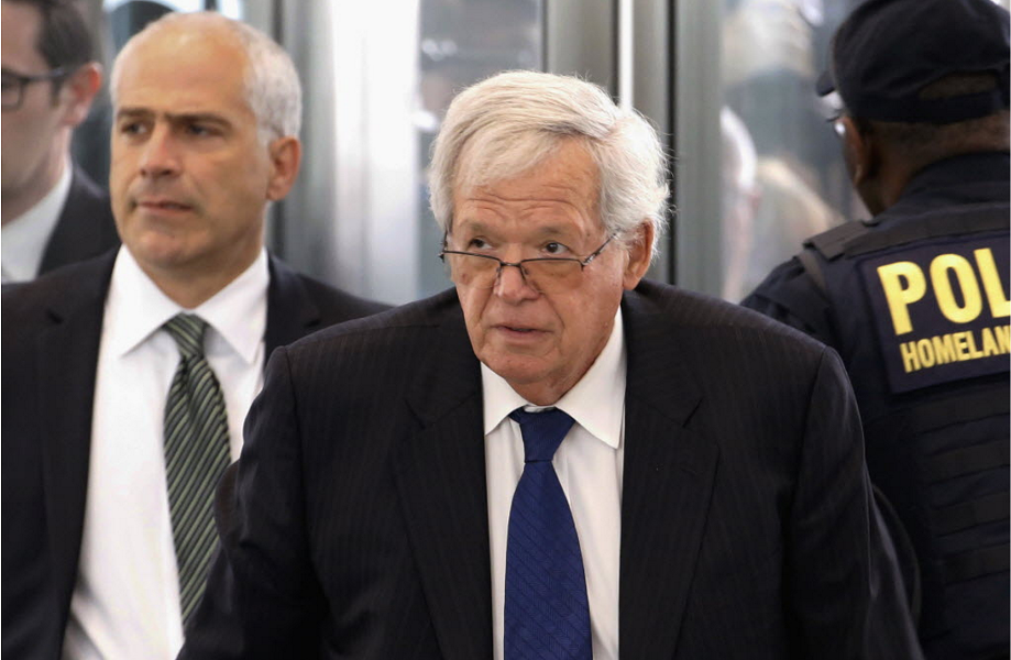 Former U.S. House speaker Dennis Hastert arrives at the Dirksen federal courthouse for his 2015 arraignment. - AP PHOTO/CHARLES REX ARBOGAST, FILE