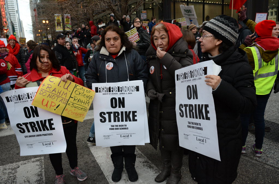 Chicago Teachers Union members ralling downtown during a one-day strike April 1. - BRIAN JACKSON/FOR THE SUN-TIMES
