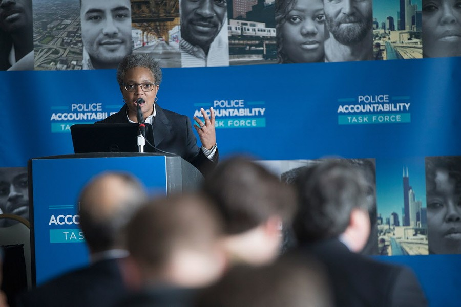 Lori Lightfoot announcing the findings of Mayor Emanuel's Police Accountability Task Force last week. - SUN-TIMES
