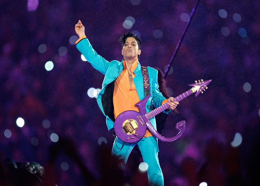 Prince performs during the halftime show at Super Bowl XLI at Dolphin Stadium in Miami in 2007. - CHRIS O'MEARA/AP