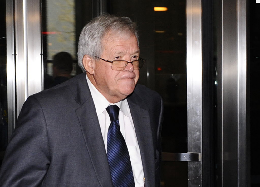 Former U.S. House speaker Dennis Hastert leaves the federal courthouse in Chicago after a recent hearing in his hush-money case. - AP PHOTO/MATT MARTON, FILE