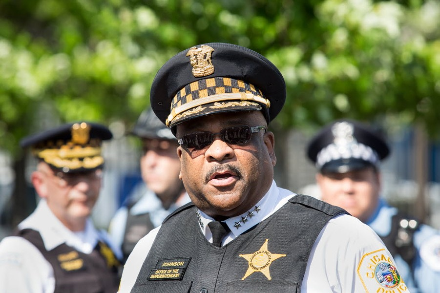 Chicago Police Department superintendent Eddie Johnson speaking to the media Thursday about the upcoming Memorial Day weekend. - LOU FOGLIA/SUN-TIMES