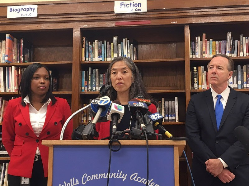 CPS chief education officer Janice Jackson, Chicago - Public Health commissioner Julie Morita, and CPS head Forrest Claypool at a press conference on lead levels in the schools Thursday - LAUREN FITZPATRICK/SUN-TIMES