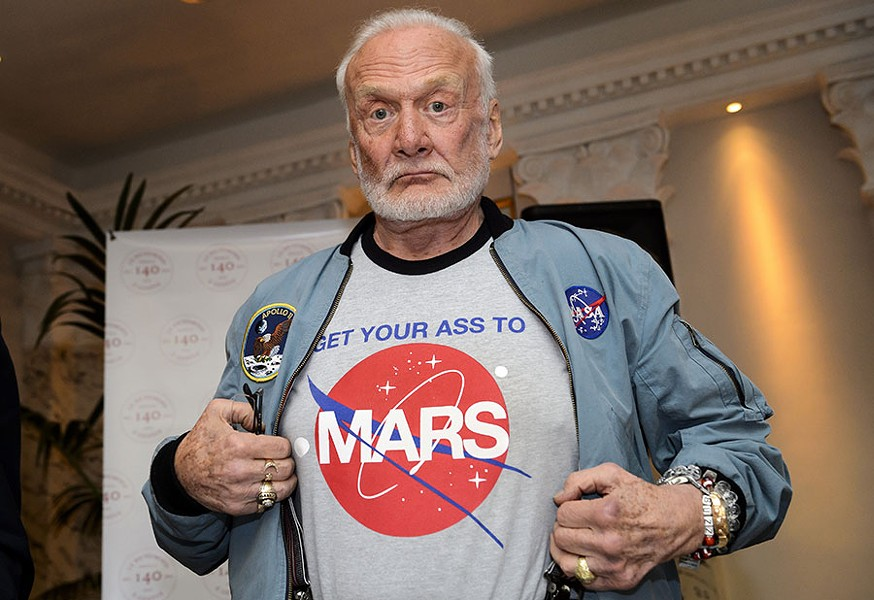Buzz Aldrin talks with Christina Korp at Printers Row Lit Fest on Sun 6/12. - ABRICE COFFRINI/GETTY