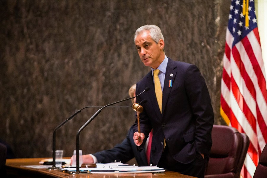 Mayor Rahm Emanuel at Wednesday's Chicago City Council meeting - JAMES FOSTER/FOR THE SUN-TIMES
