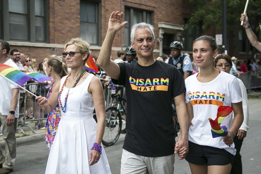 Mayor Rahm Emanuel and his family march in the 47th annual Chicago Pride Parade, which kicked off at Montrose and Broadway Sunday. - ASHLEE REZIN/CHICAGO SUN-TIMES VIA AP