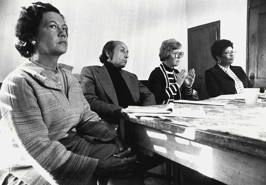 Mary Powers, left, with members of Alliance to End Repression and Citizens Alert in 1977 - SUN-TIMES PRINT COLLECTION