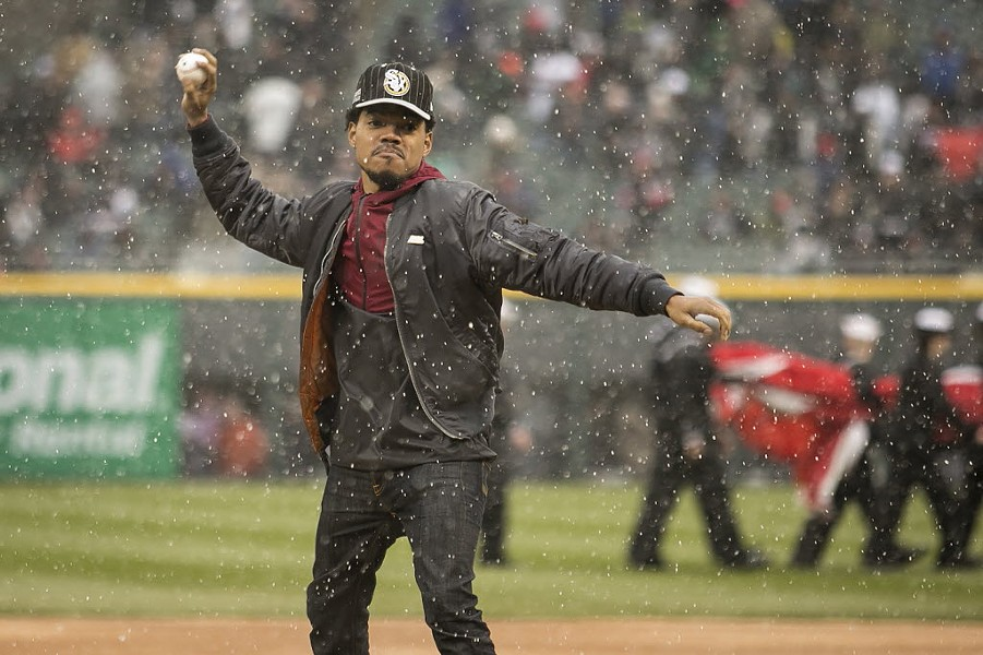 Chance the Rapper throwing out the first pitch of the season on the White Sox' opening day in April 2016 - ASHLEE REZIN/SUN-TIMES
