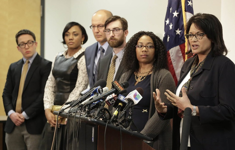 IPRA chief administrator Sharon Fairley, right, speaks at a news conference in March. - AP PHOTO/M. SPENCER GREEN FILE