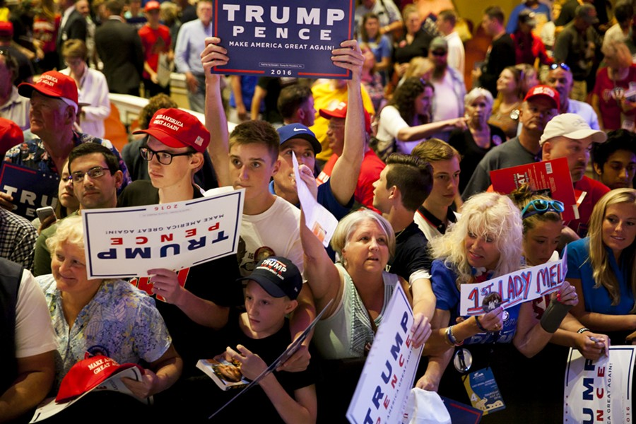 Trump supporters at a rally in Portland Thursday - SARAH RICE/GETTY IMAGES