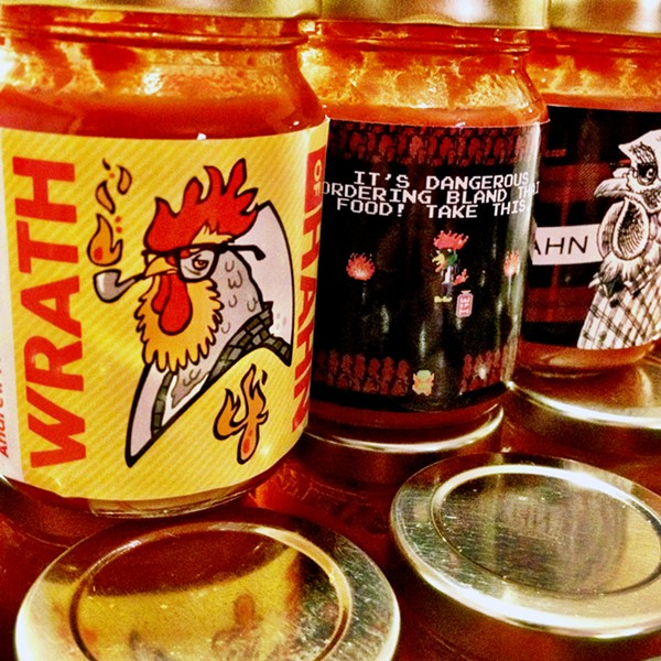 "Of Wrath of Hahn, its maker says ""there is literally no other possible fucking name for this hot sauce."" - COURTESY THEODORE HAHN"