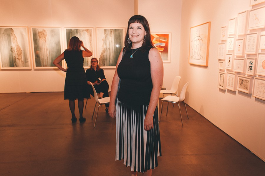 Pleats make another appearance in local artist Renee Robbins's dress. - DANIELLE A. SCRUGGS