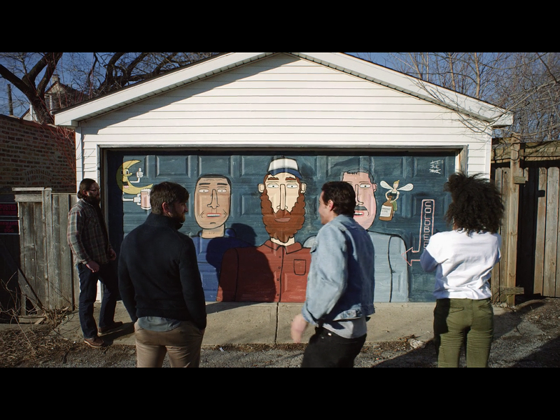 In Easy, a mural by Don't Fret adorns the door of a garage that houses an illegal brewery.