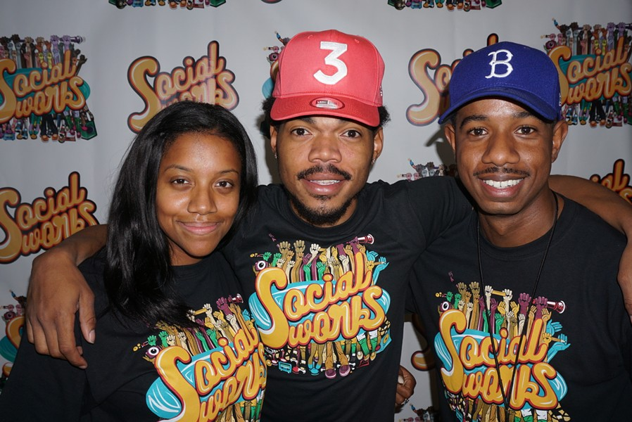 Chance the Rapper (center) with SocialWorks cofounders Essence Smith and Justin Cunningham - WILL GOFF