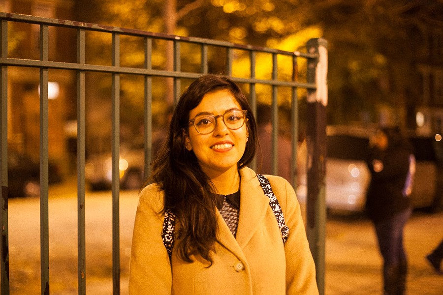"""Sandy Flores of Pilsen: """"I think it was something that needed to be done, but I'm not excited about my choices. I'm apathetically voting."""" - DANIELLE A. SCRUGGS"""