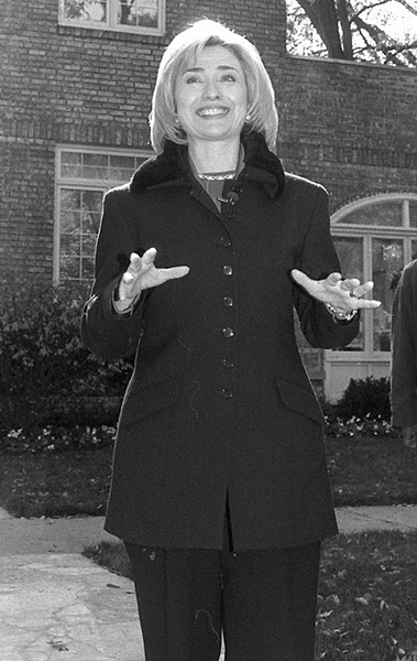 Hillary Clinton outside her childhood home at the corner of Elm and Wisner in Park Ridge in 2007 - PIONEER FILE PHOTO BY BRANDON TERRELL
