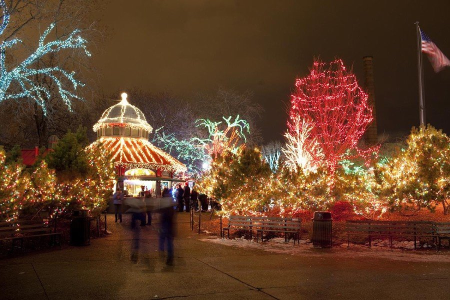 More than a million lights illuminate the grounds during ZooLights. - COURTESY LINCOLN PARK ZOO