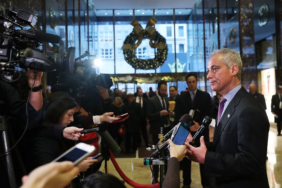 Mayor Rahm Emanuel speaks to the media after a meeting at New York's Trump Tower Wednesday. - SPENCER PLATT/GETTY IMAGES