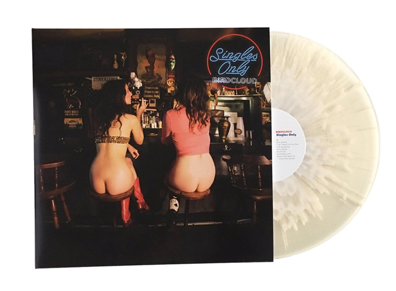 """The cover of the double-LP Birdcloud collection Singles Only, which has been pressed on """"cum-colored"""" vinyl"""
