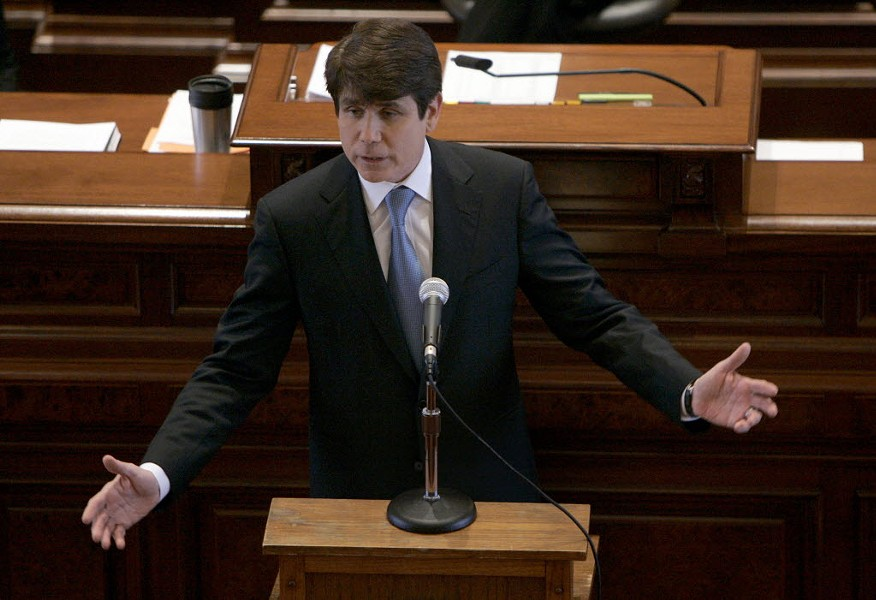 Illinois Governor Rod Blagojevich delivers his closing argument at his impeachment trial in 2009. - AP PHOTO/JEFF ROBERSON