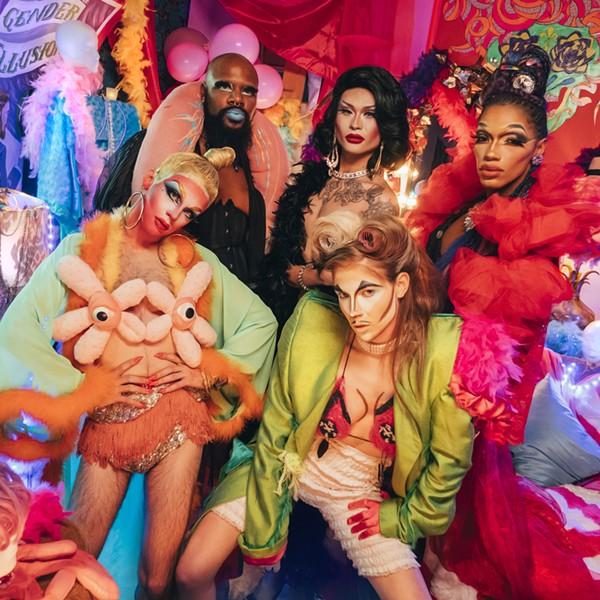 """Some of the performers in """"2,000 Years of Drag."""" Top row: Lucy Stoole, Eva Young, and the Vixen. Bottom row: Imp Queen and Dorian Electra. - GREG STEPHEN REIGH"""