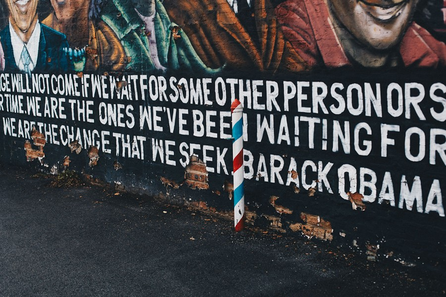"The mural quotes Barack: ""We are the change that we seek."""