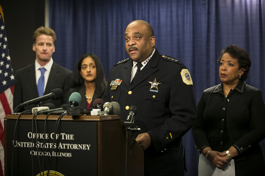 CPD superintendent Eddie Johnson, center, with former U.S. attorney general Loretta Lynch, right, announcing the findings of the Department of Justice report - ASHLEE REZIN/SUN-TIMES