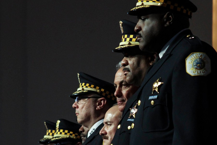 Chicago Police Department recruits, Mayor Rahm Emanuel, and police superintendent Eddie Johnson (second from right) attend a police academy graduation ceremony. - MARIA CARDONA/ SUN-TIMES
