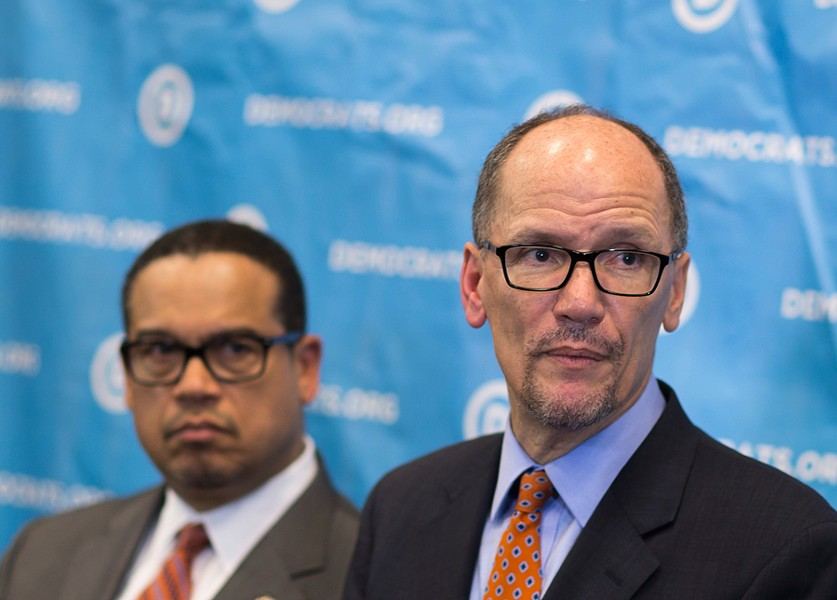 Newly elected Democratic National Committee chairman Tom Perez, right, and Minnesota congressman Keith Ellison - AP PHOTO/BRANDEN CAMP