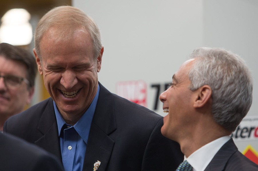 Governor Bruce Rauner and Mayor Rahm Emanuel at the opening of the Digital Manufacturing and Design Innovation Institute in 2015 - CHRISTIAN K. LEE/ FOR SUN-TIMES MEDIA
