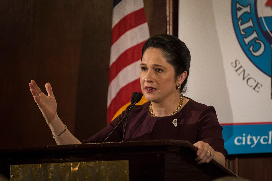 Illinois comptroller Susana Mendoza spoke to the City Club of Chicago Monday afternoon. - RICH HEIN/SUN-TIMES