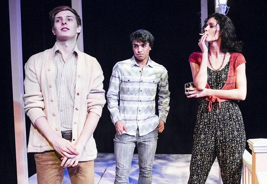 Julian Larach, Johnathan Nieves, and Jaslene Gonzalez in Raven Theatre's Sycamore - DEAN LA PRAIRIE