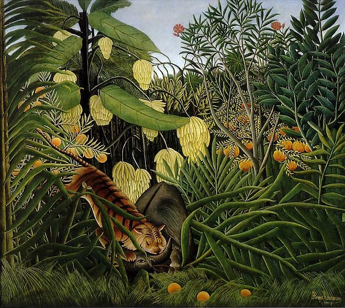 Fight Between a Tiger and a Buffalo by Henri Rousseau (1908) - WIKIMEDIA COMMONS