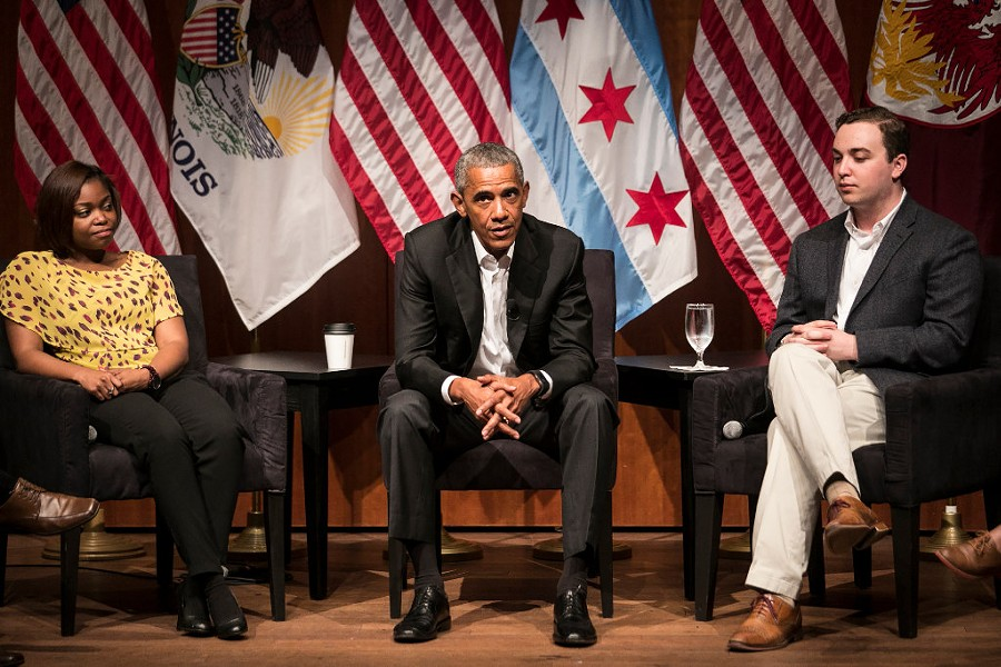 Former president Barack Obama with young activists at the University of Chicago, making his first post-presidential public appearance. - ASHLEE REZIN/SUN-TIMES